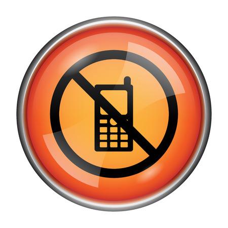 refrain: Round glossy icon with black design on orange background Stock Photo