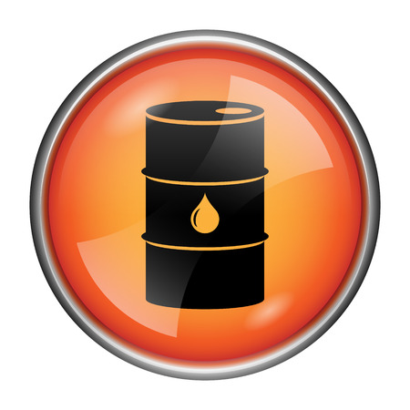 barrell: Round glossy icon with black design on orange background Stock Photo