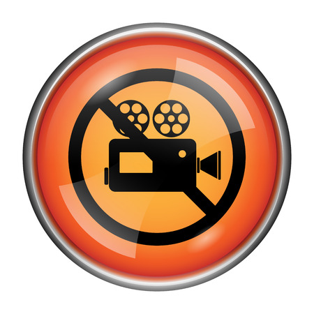 Round glossy icon with black design on orange background Stock Photo - 25524548