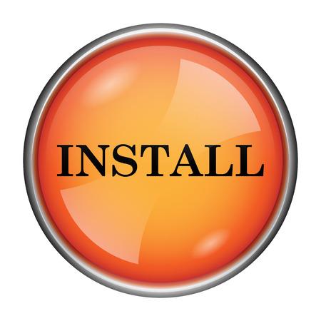 Round glossy icon with black design on orange background Stock Photo - 25524366