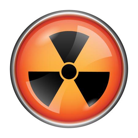 Round glossy icon with black design on orange background Stock Photo - 25524300