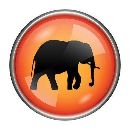endanger: Round glossy icon with black design on orange background Stock Photo