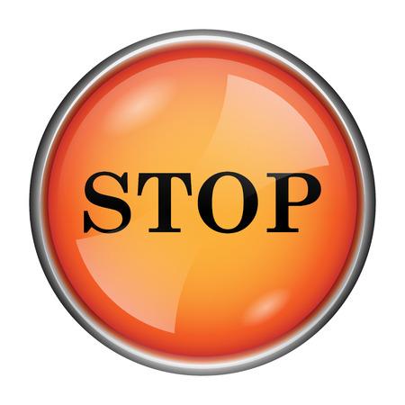 run off: Round glossy icon with black design on orange background Stock Photo