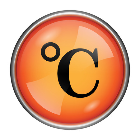 celcius: Round glossy icon with black design on orange background Stock Photo