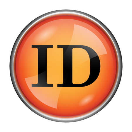 Round glossy icon with black design on orange background photo