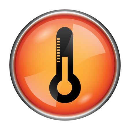 Round Glossy Icon With Black Design On Orange Background Stock Photo