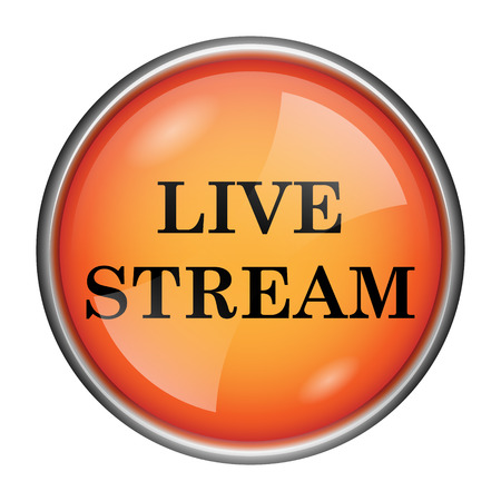 livestream: Round glossy icon with black design on orange background Stock Photo