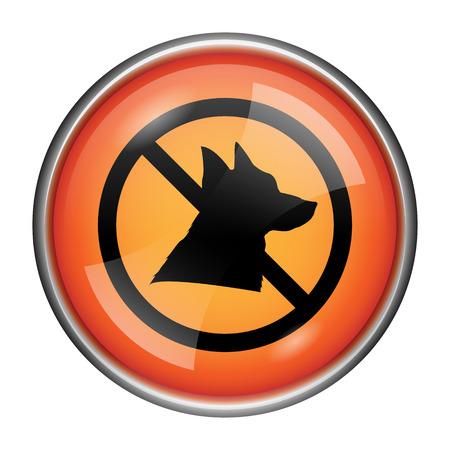 dog allowed: Round glossy icon with black design on orange background Stock Photo