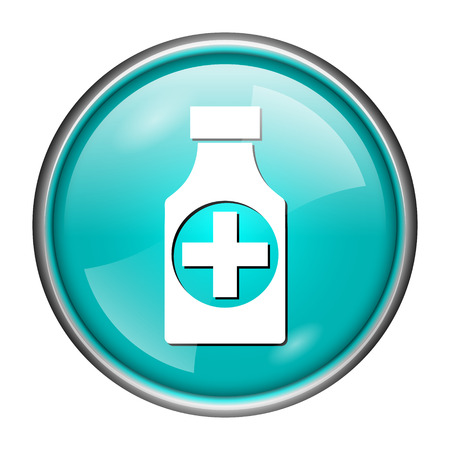 Round glossy icon with white design of medicine on aqua background photo