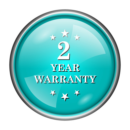 Round glossy icon with white design of 2 year warranty on aqua background photo