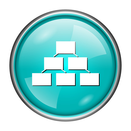 Round glossy icon with white design of organization on aqua background photo