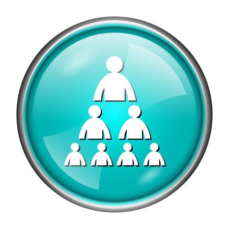 Round glossy icon with white design of organization on aqua background photo