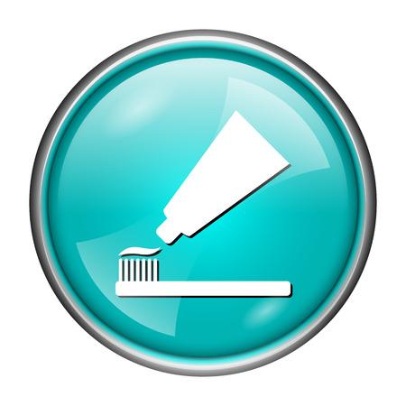 fluoride toothpaste: Round glossy icon with white design of toothpaste on aqua background Stock Photo