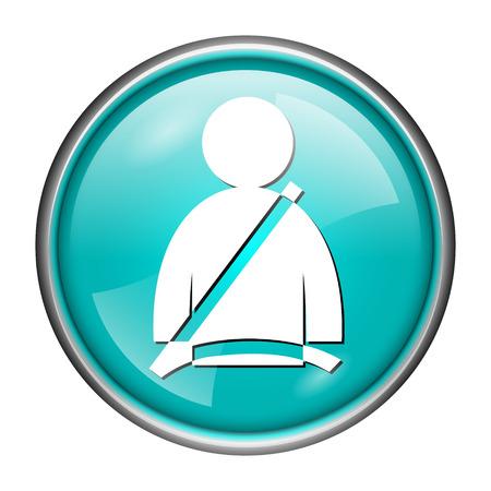 Round glossy icon with white design of seat belt on aqua background photo