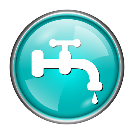 spigot: Round glossy icon with white design of water tap on aqua background
