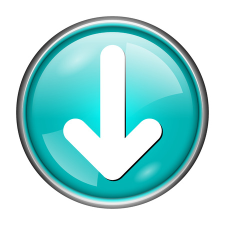 downwards: Round glossy icon with white design of downwards on aqua background