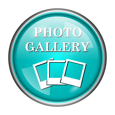 Round glossy icon with white design of photo gallery on aqua background