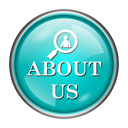 Round glossy icon with white design of about us on aqua background photo