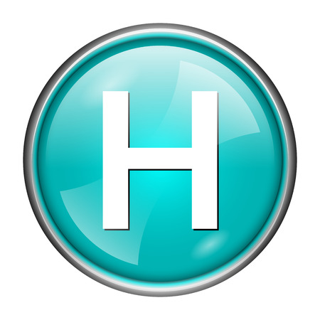 Round glossy icon with white design of H on aqua background photo
