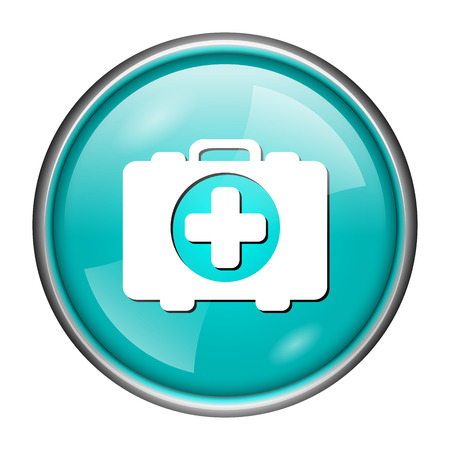 first aid kit key: Round glossy icon with white design of medical bag on aqua background