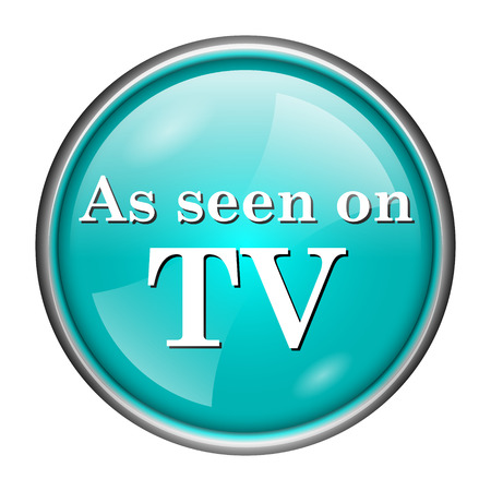cliche: Round glossy icon with white design of as seen on tv on aqua background Stock Photo