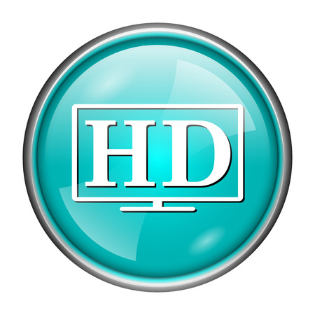 Round glossy icon with white design of HD on aqua background photo