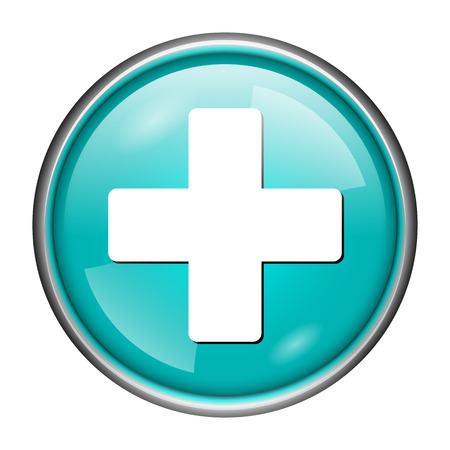 Round glossy icon with white design of medical on aqua background photo