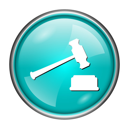 Round glossy icon with white design of judge hammer on aqua background photo