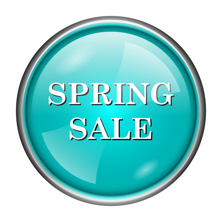 Round glossy icon with white design of spring sale on aqua background photo