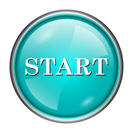 proceed: Round glossy icon with white design of start on aqua background