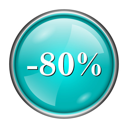 Round glossy icon with white design of -80% on aqua background photo