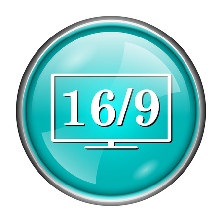 Round glossy icon with white design of 169 on aqua background photo