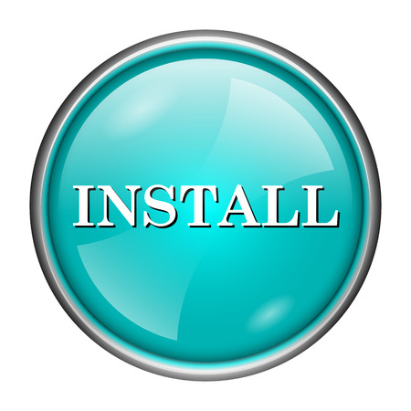 Round glossy icon with white design of install on aqua background Stock Photo - 25592916