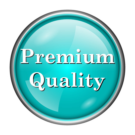 selected: Round glossy icon with white design of premium quality on aqua background Stock Photo