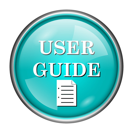 Round glossy icon with white design of user guide on aqua background