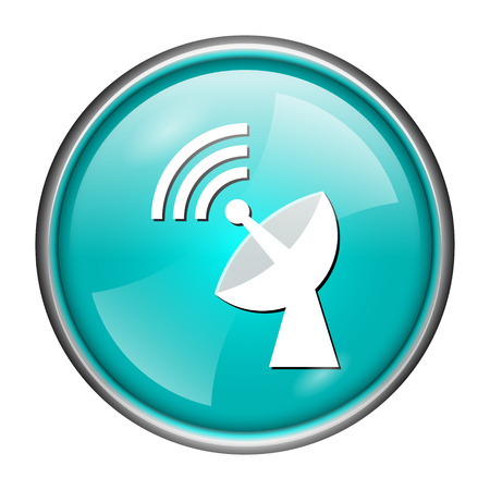Round glossy icon with white design of network on aqua background photo