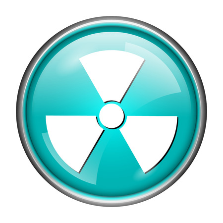 Round glossy icon with white design of radioactive on aqua background Stock Photo - 25592189