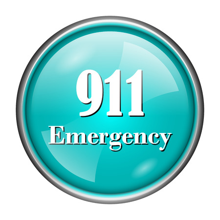 bad service: Round glossy icon with white design of 911 emergency on aqua background