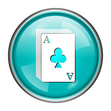 Round glossy icon with white design of poker cards on aqua background photo