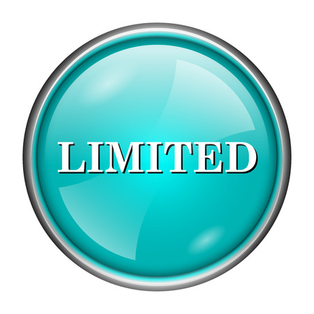 auction off: Round glossy icon with white design of limited on aqua background