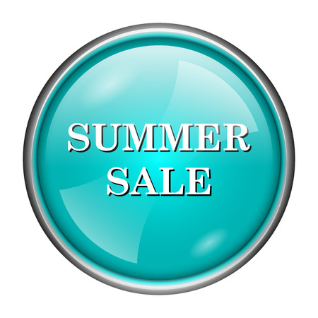 Round glossy icon with white design of summer sale on aqua background photo