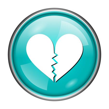 Round glossy icon with white design of heartbroken on aqua background photo