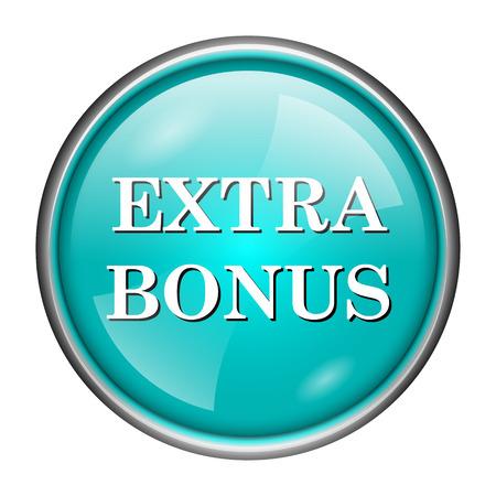 Round glossy icon with white design of extra bonus on aqua background Stock Photo