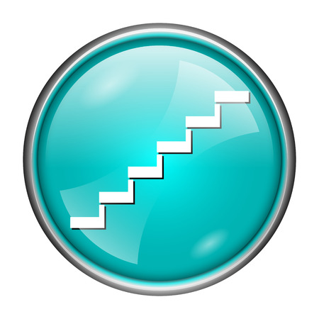 Round glossy icon with white design of stairs on aqua background photo