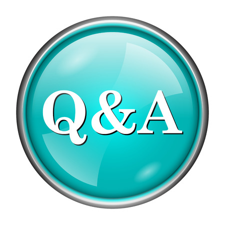 Round glossy icon with white design of Q&A on aqua background photo