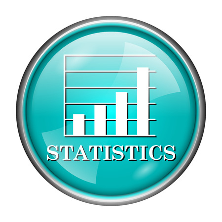 Round glossy icon with white design of statistics on aqua background photo