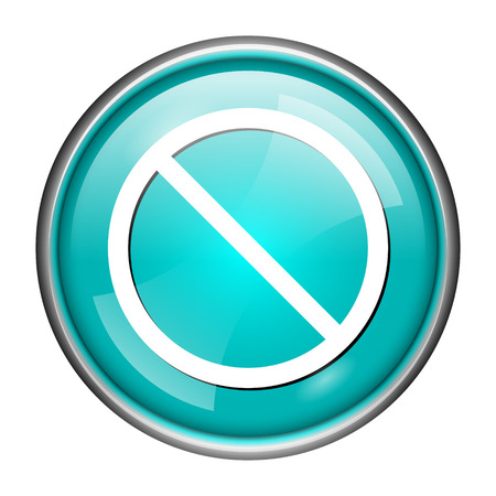 disallowed: Round glossy icon with white design of disallowed on aqua background