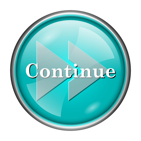 continue: Round glossy icon with white design of continue on aqua background