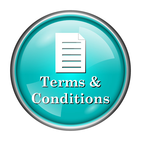 term and conditions: Round glossy icon with white design of term & conditions on aqua background Stock Photo