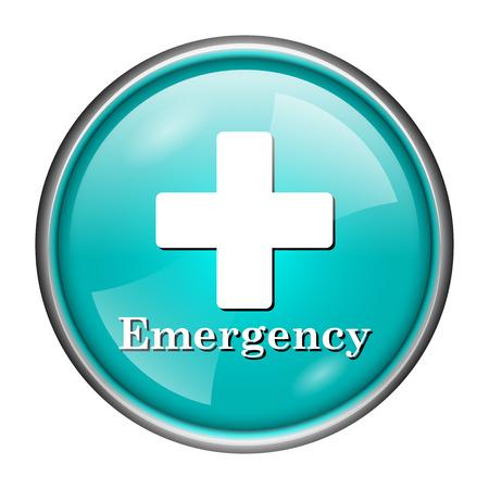 Round glossy icon with white design of emergency on aqua background photo